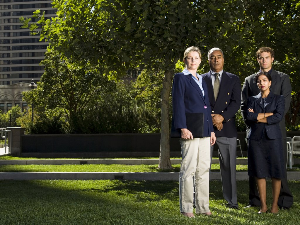 Stock Photo: 1660R-60839 Four businesspeople standing on a lawn