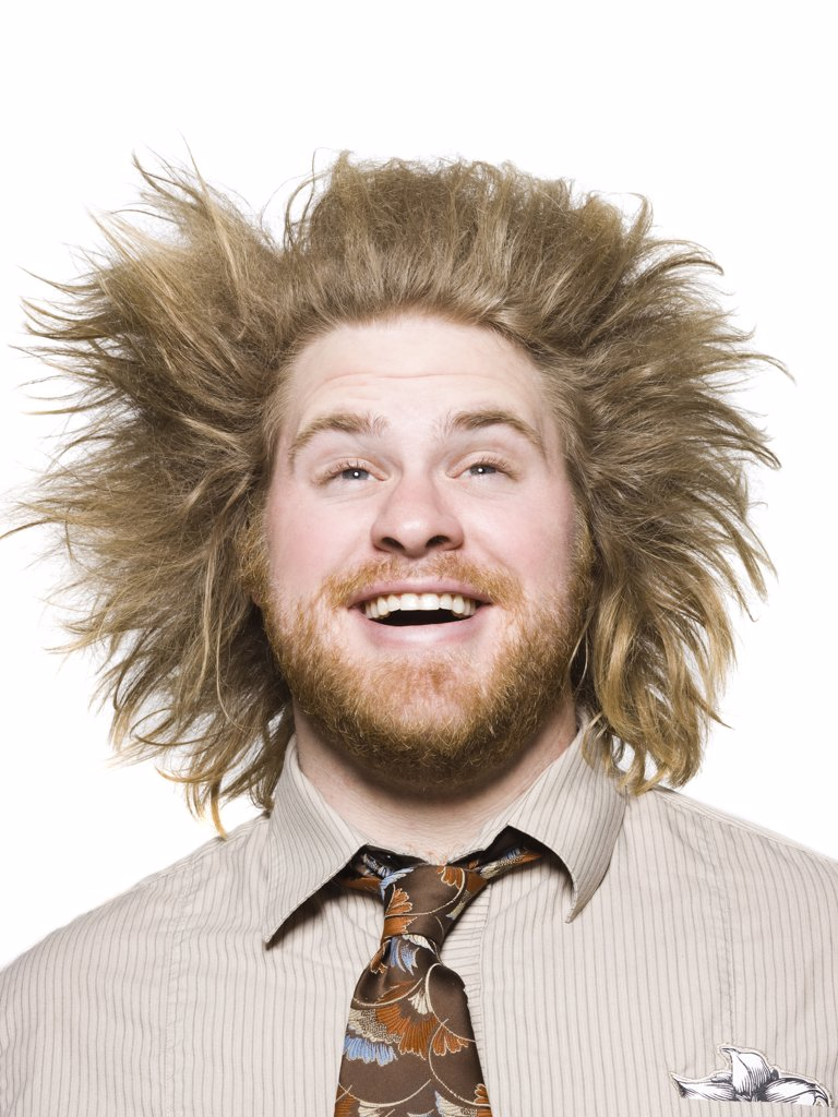 Stock Photo: 1660R-61120 man with wild hair