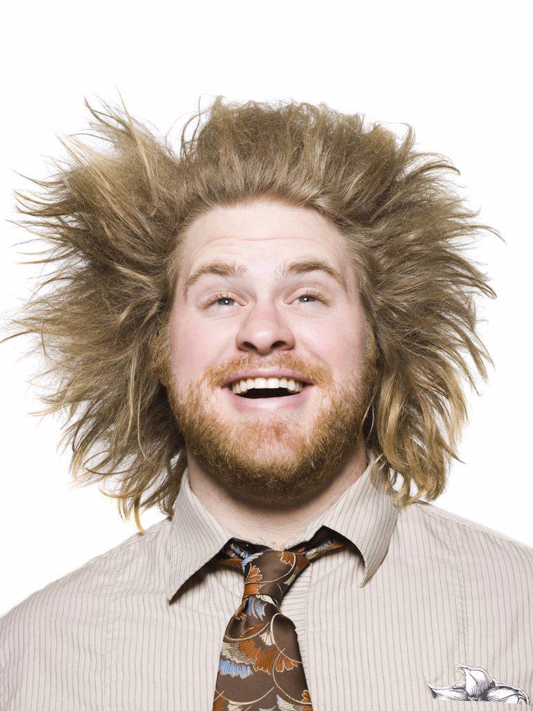 man with wild hair : Stock Photo
