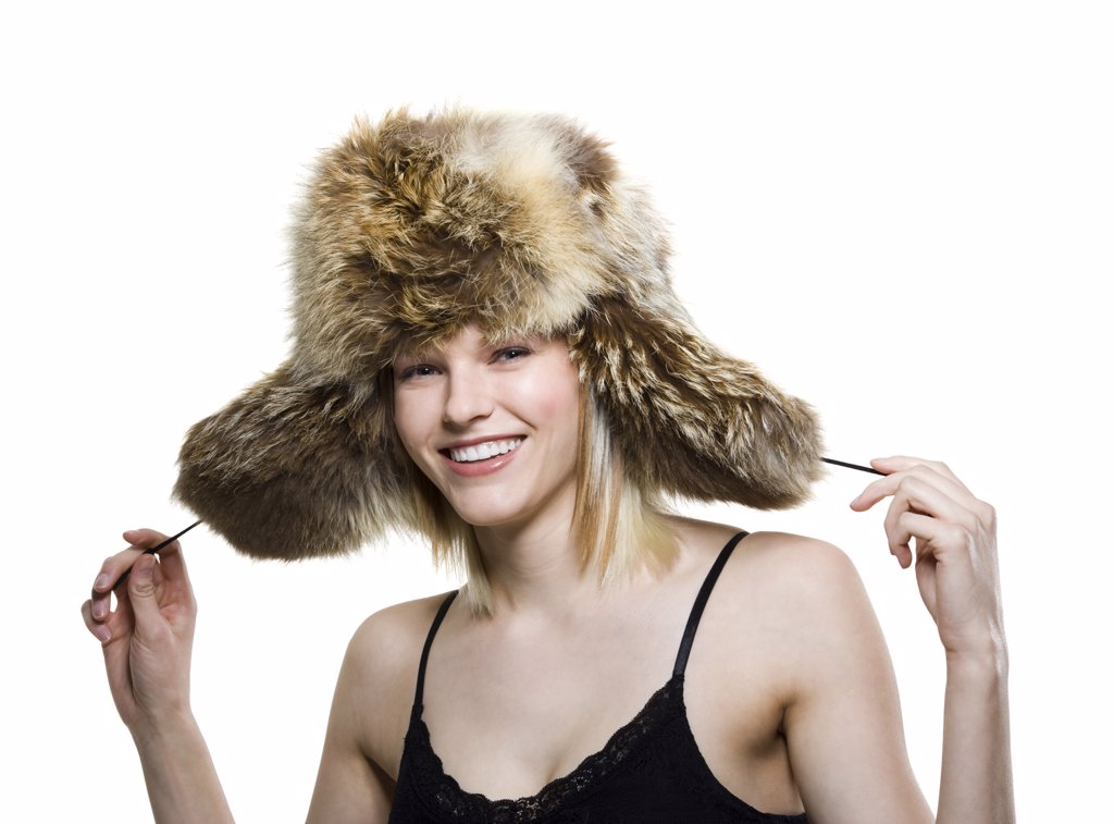 Woman with fur hat : Stock Photo