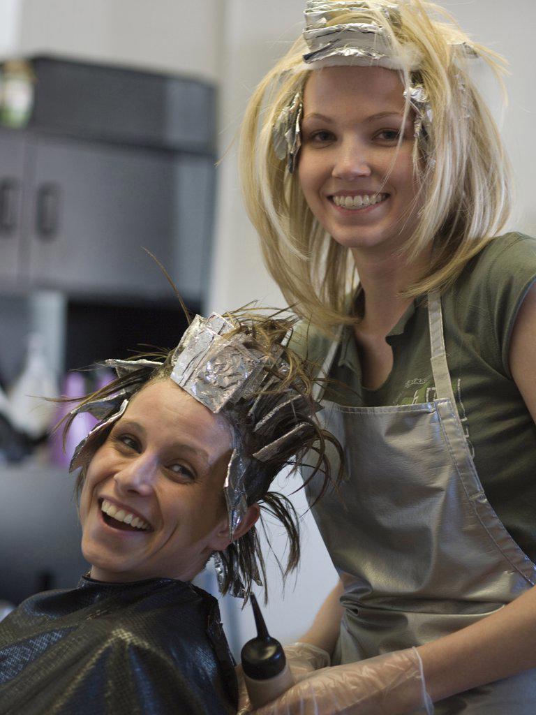 Stock Photo: 1660R-63167 Portrait of two women in a beauty salon