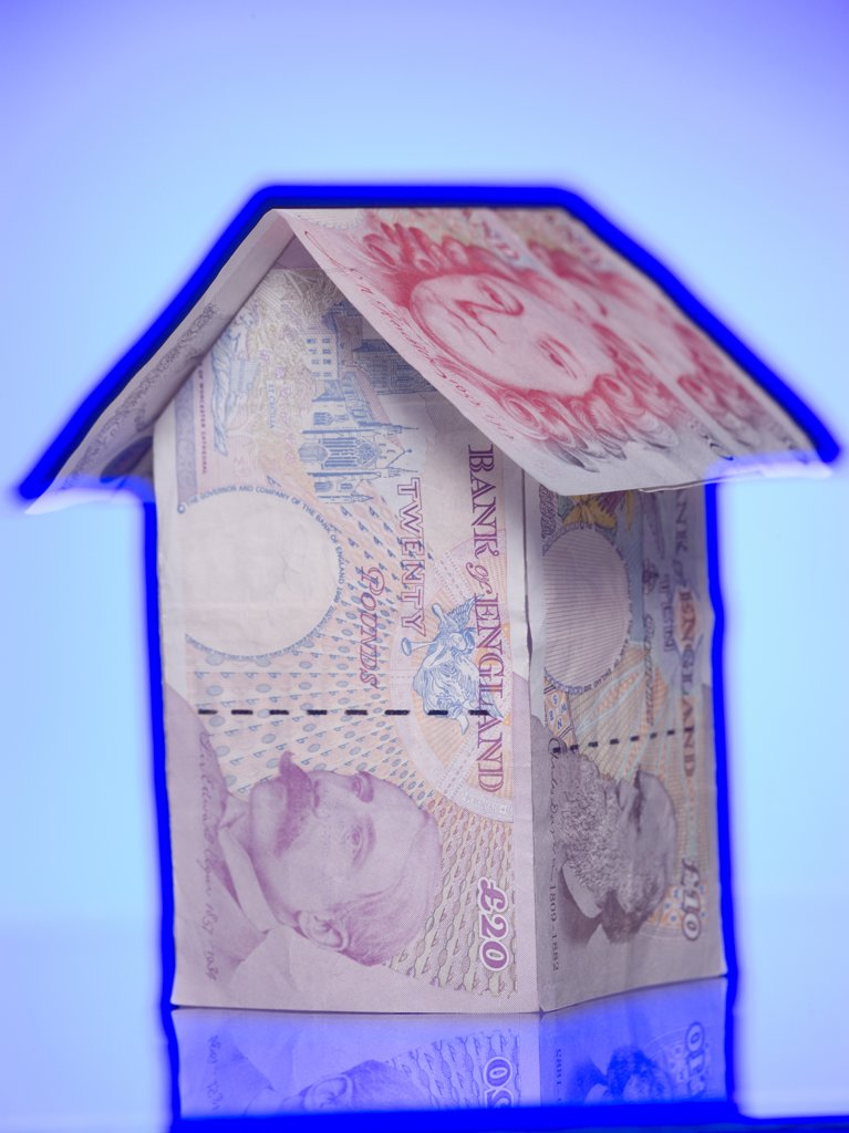 Stock Photo: 1660R-63318 House made of paper currency