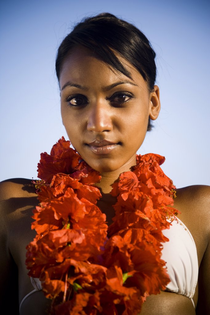 Stock Photo: 1660R-63394 African-American woman with a red lei