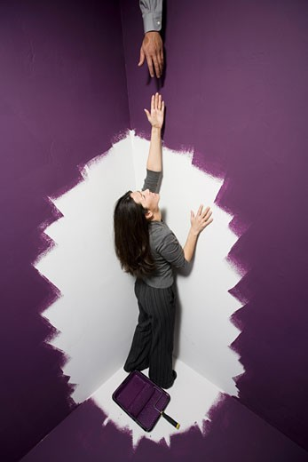 Stock Photo: 1660R-7851 High angle view of a mid adult woman reaching out for a man's hand