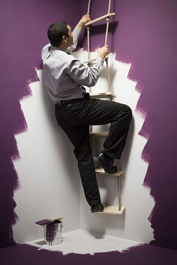 Stock Photo: 1660R-7859 Rear view of a businessman climbing a ladder