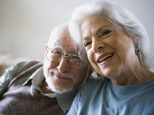 Close-up of a senior couple smiling : Stock Photo