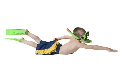 Stock Photo: 1660R-8281 Profile of a boy snorkeling