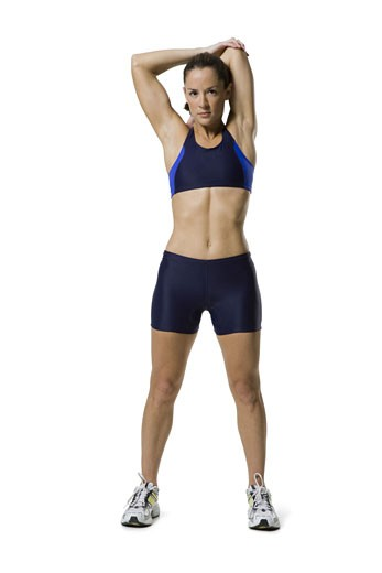 Stock Photo: 1660R-8625 Portrait of a woman stretching her arms