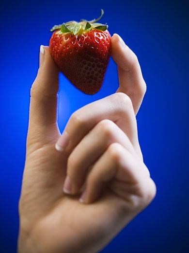 Stock Photo: 1660R-8917 Close-up of a woman's hand holding a strawberry
