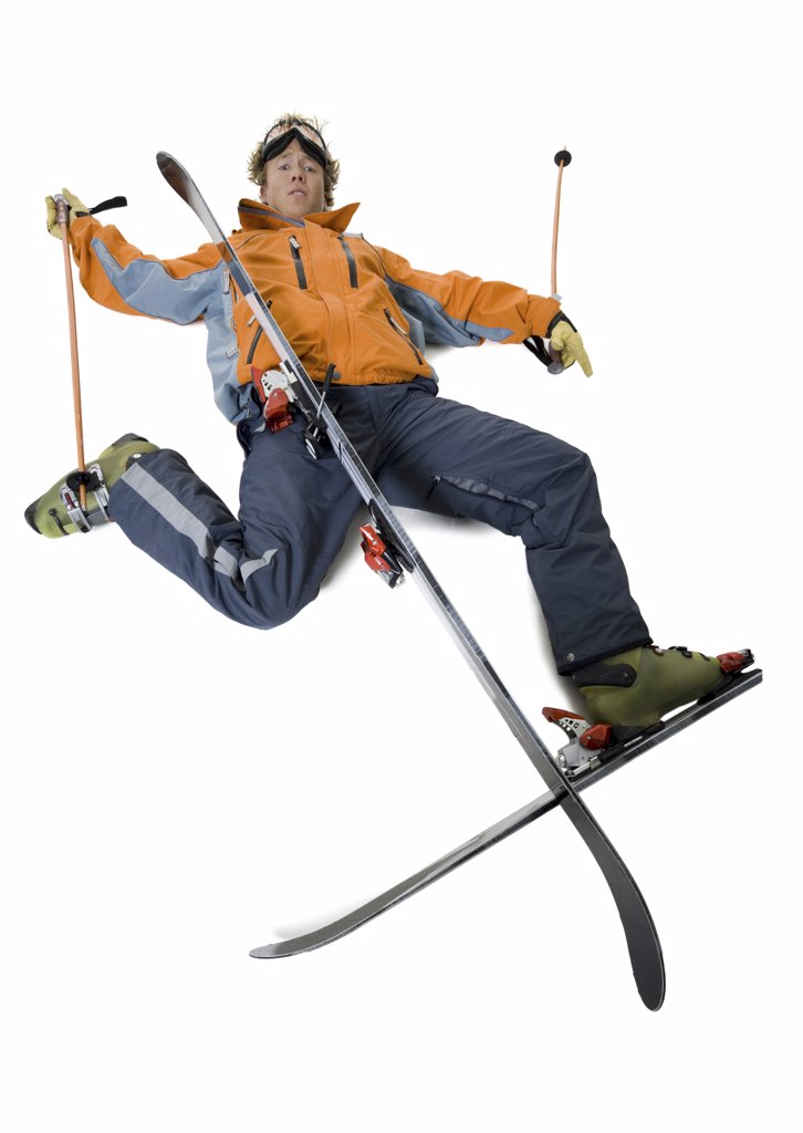 Stock Photo: 1660R-9504 High angle view of a fallen skier