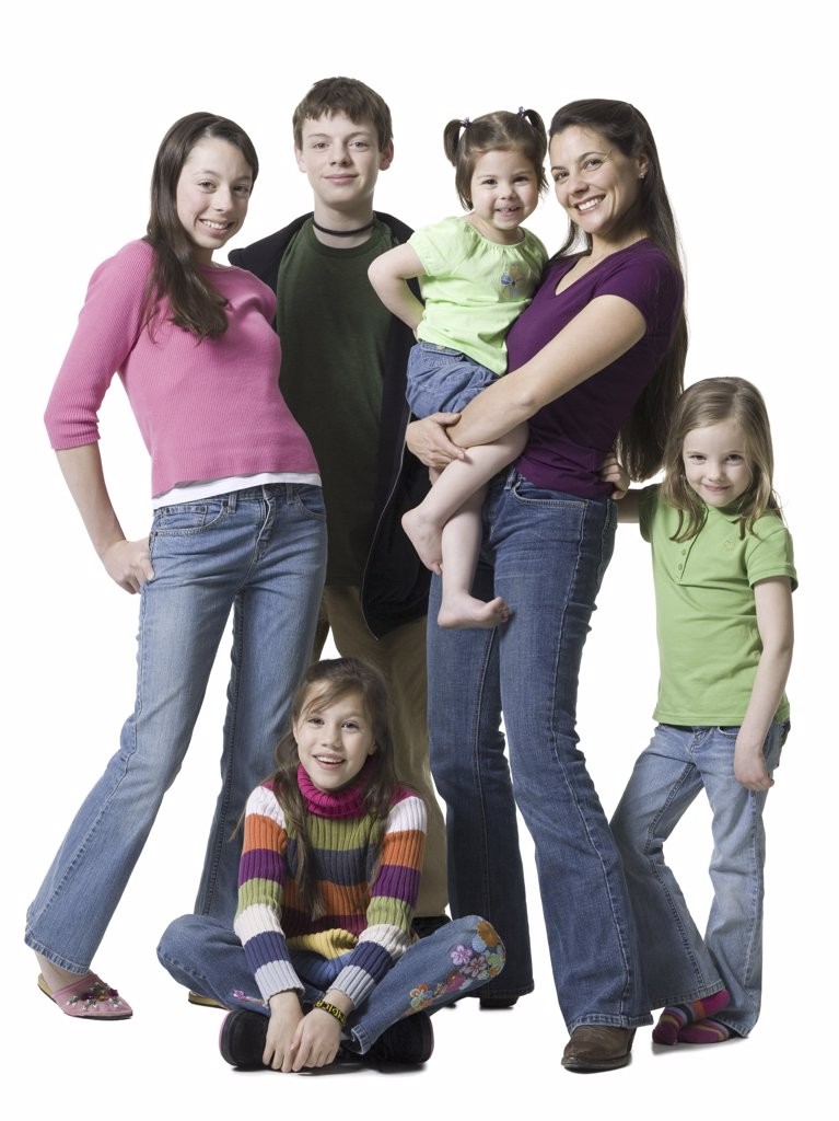 Stock Photo: 1660R-9696 Portrait of a woman and her children smiling