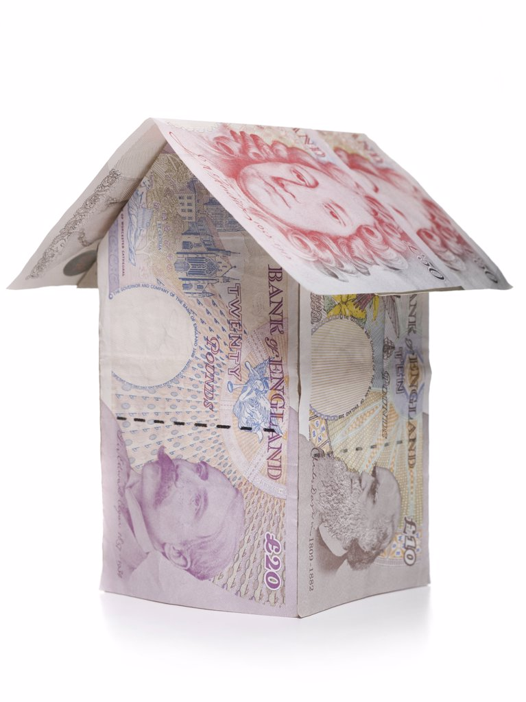 Stock Photo: 1660R-9843 Close-up of a house made of Euro notes