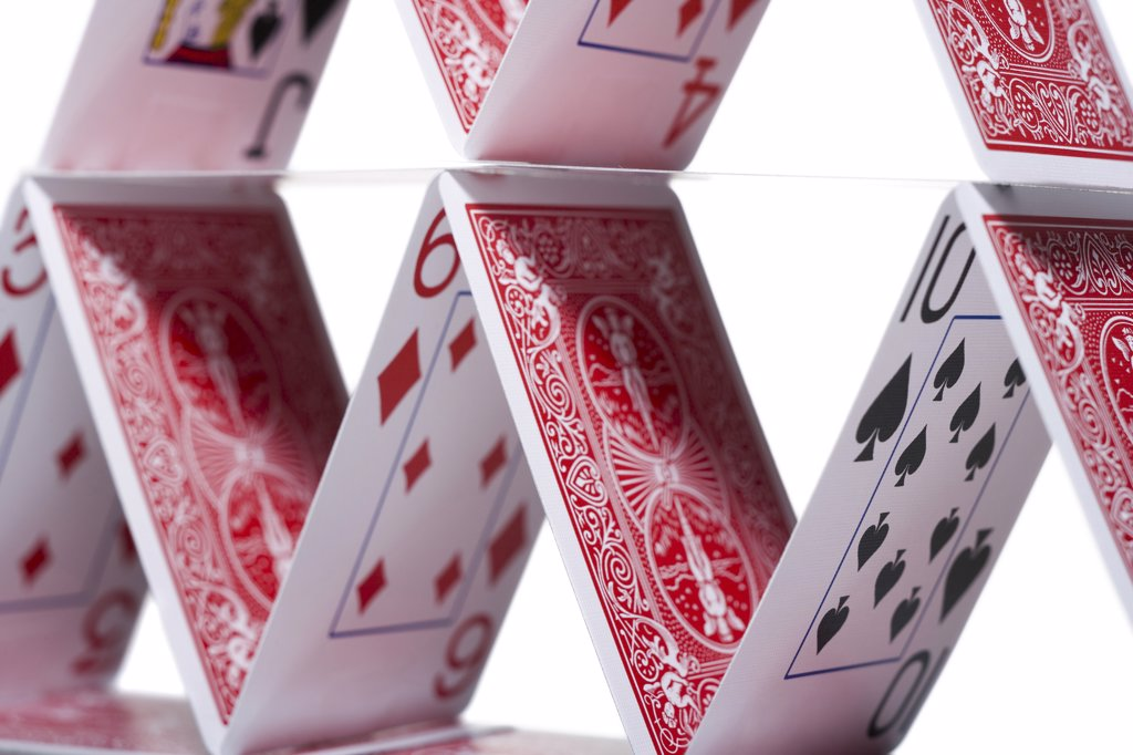 Stock Photo: 1660R-9871 Close-up of a house of cards