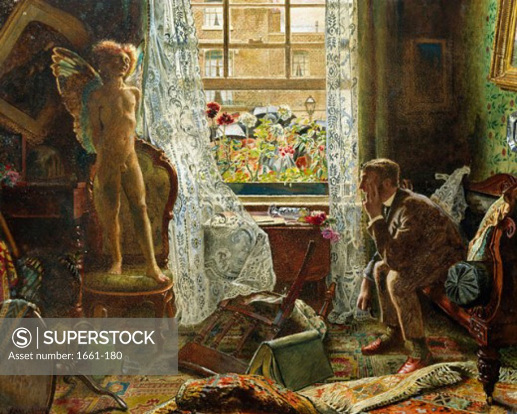 Stock Photo: 1661-180 When Love Came into the House of a Respectable Citizen Byam Shaw (1872-1919 British)