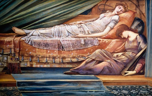 Stock Photo: 1661-154 The Sleeping Princess 1886-88 Edward Burne-Jones (1833-1898 British)