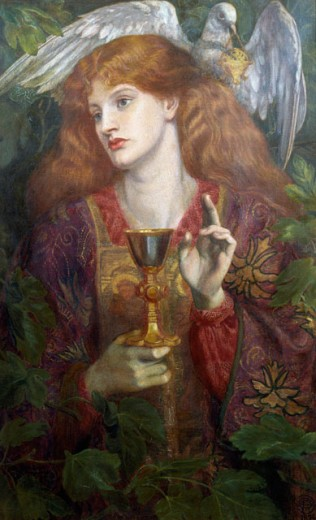 Stock Photo: 1661-161 The Damsel of the Sanct Grail 1874 Dante Gabriel Rossetti (1828-1882 British)