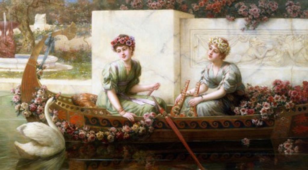 Stock Photo: 1661-179 Flower Garlands Emile Eisman-Semenowsky (1857-1911 Polish)