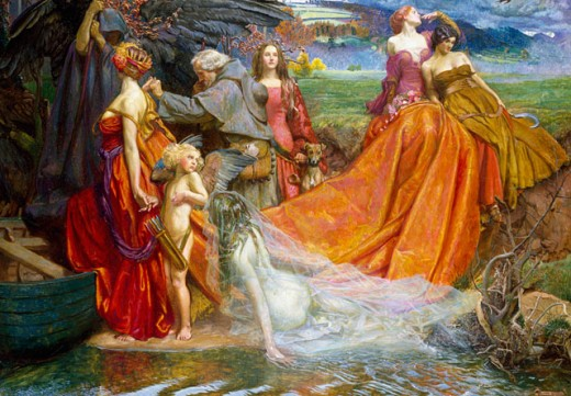 Stock Photo: 1661-185 Now is the Pilgrim Year Fair Autumn's Charge Byam Shaw (1872-1919 British)