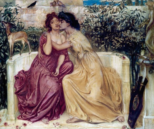 Stock Photo: 1661-188 Sappho and Errinna in the Garden Mytelene Simeon Solomon (1840-1905 British) Private Collection