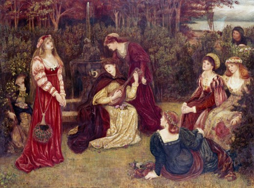 Stock Photo: 1661-195 The Recital 1879 Marie Spartali Stillman (1844-1927 British)