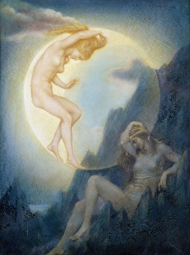 Stock Photo: 1661-244 The Sleeping Earth and Wakening Moon Evelyn De Morgan (1855-1919 British)