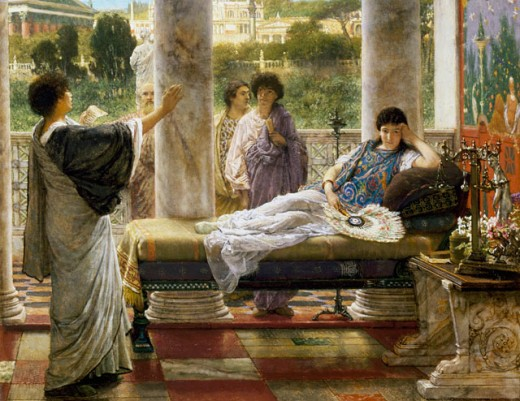 Stock Photo: 1661-249 Reading a Poem Lawrence Alma-Tadema (1836-1912 Dutch) Private Collection