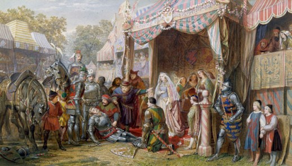 Stock Photo: 1661-267 Lancelot Defeats Mador J. E. Buckley (1820-1884 British)