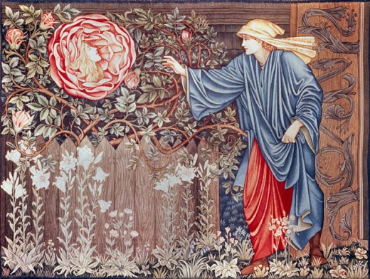 The Heart of the Rose Edward Burne-Jones (1833-1898 British) Tapestry Private Collection : Stock Photo