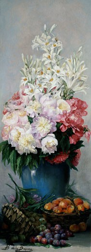 Stock Photo: 1661-316 A STILL LIFE OF PEONIES, LILIES, APRICOTS & PLUMS Bertha de la Baume (1860-1911 French)