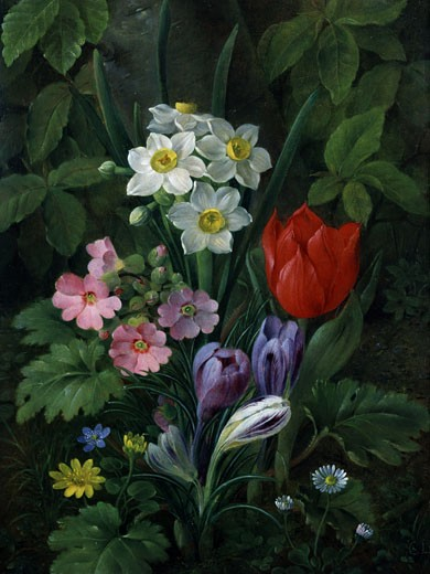 Spring Garden Flowers Christine Marie Lovmand (1803-1872) : Stock Photo