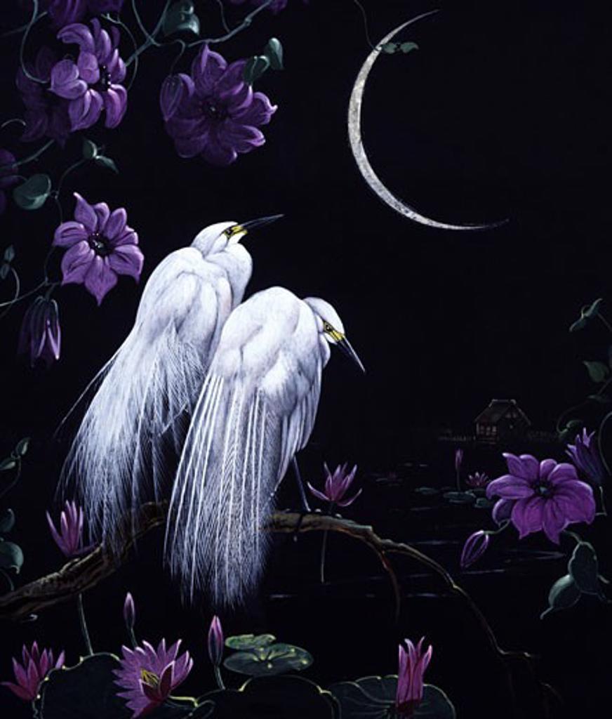 Stock Photo: 1661-374 Birds by Moonlight Edward Julius Detmold (1883-1957 British)