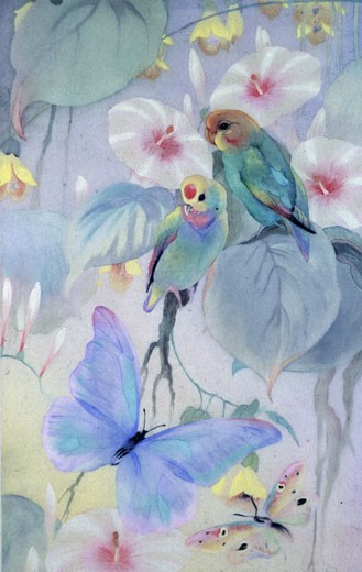 Stock Photo: 1661-378 Budgies and Butterflies Edward Julius Detmold (1883-1957 British)
