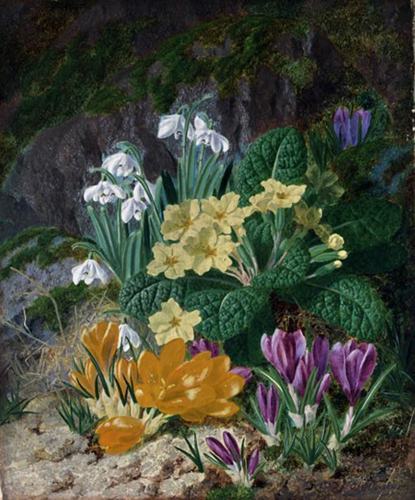 Stock Photo: 1661-392 Spring Flowers Thomas Worsey (1829-1875 British)