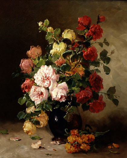 Stock Photo: 1661-411 A Still Life of Roses and Wallflowers Eugene Henri Cauchois (1850-1911 French)