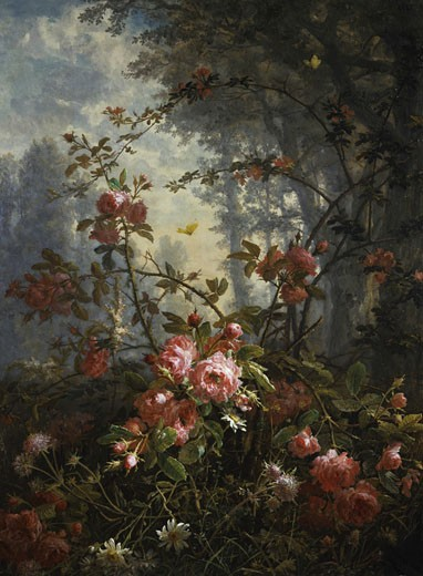 A Study of Pink Roses and Butterflies Ernest Ludolf Meyer (1848-1922 German) : Stock Photo