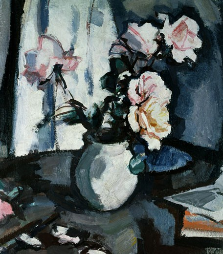 Stock Photo: 1661-442 Still Life with Roses in a Vase Samuel John Peploe (1871-1935 British)