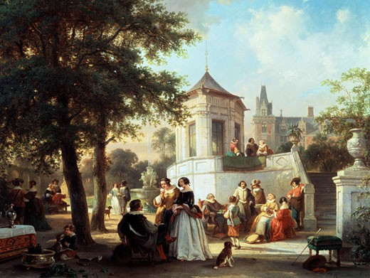 Stock Photo: 1661-462 The Garden Party 1854 Jan Michiel Ruyten (1813-1881 Belgian)