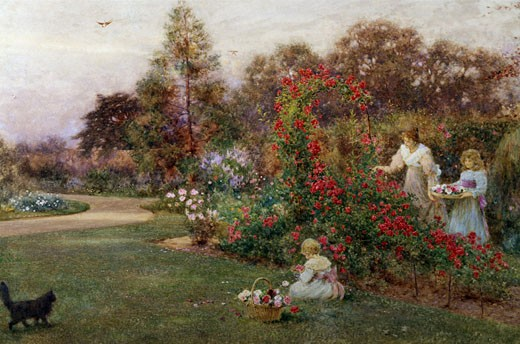 In the Artist's Garden, Yapton, Sussex Thomas James Lloyd (1849-1910 British) : Stock Photo