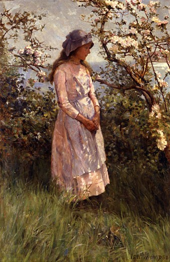 Amidst the Blossom Isa Thompson (1850-1926) : Stock Photo