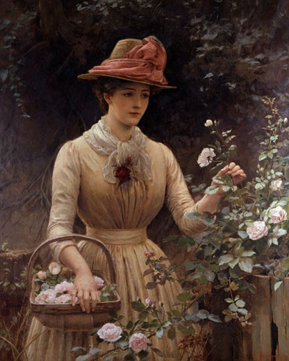 Stock Photo: 1661-492 Picking Roses Percy Tarrant (D.1934 British)