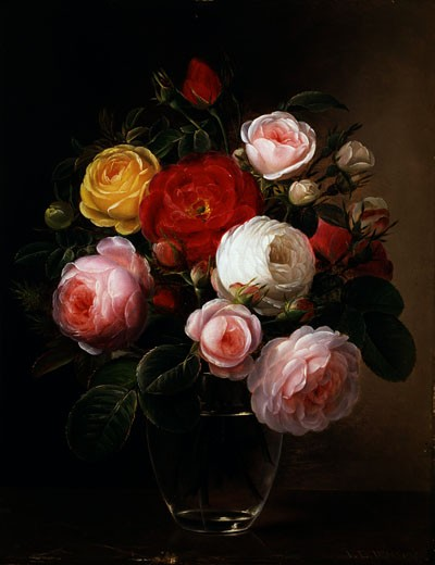 Still Life of Roses in a Glass Vase Johan Laurentz Jensen (1800-1856 Danish) : Stock Photo