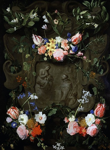 A Flower Bedecked Marble Niche Containing an Adoration of the Virgin Daniel Seghers (1590-1661 Flemish) : Stock Photo