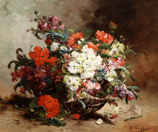 Summer Flowers Arranged in a Basket Eugene Henri Cauchois (1850-1911 French) : Stock Photo