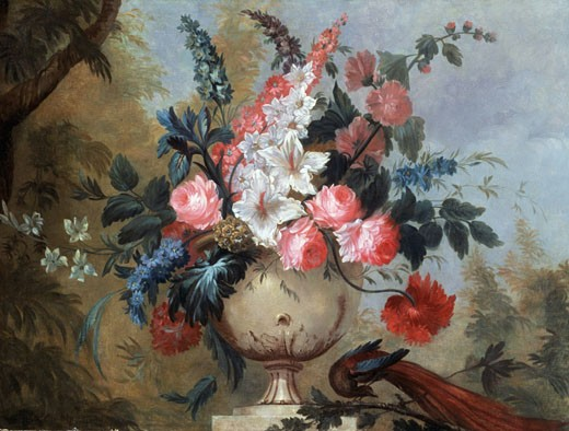 Stock Photo: 1661-557 A Still Life of Exotic Flowers in an Urn Artist Unknown