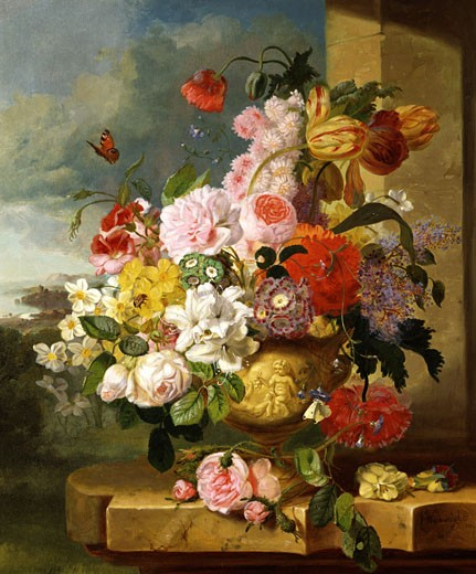 Stock Photo: 1661-564 A Rich Still Life of Flowers in a Vase John Wainewright (b.19TH C British)