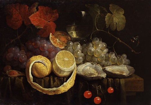 Stock Photo: 1661-640 Still Life of Fruit and Oysters Joris van Son (1623-1667 Flemish)