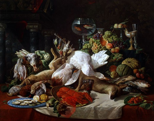 Stock Photo: 1661-648 Still Life with Game Lucas Victor Schaefels (1824-1885 Belgian)