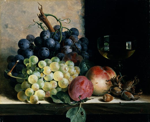 Stock Photo: 1661-728 Still Life of Fruit and a Glass of Wine Edward Ladell (1821-1886 British)