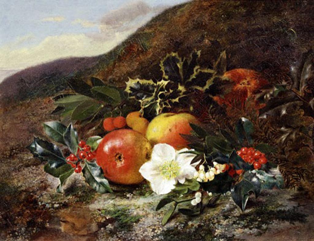 Winter fruits and Flowers, Jane Inglis, (-1916) : Stock Photo