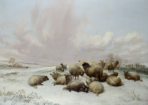 Winter, 1861, Thomas Sidney Cooper, (1803-1902/British) : Stock Photo